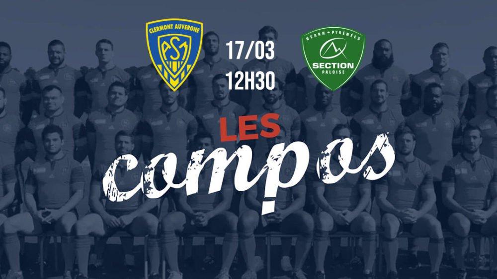 top 14 les compos clermont vs pau rugby france xv de départ 15